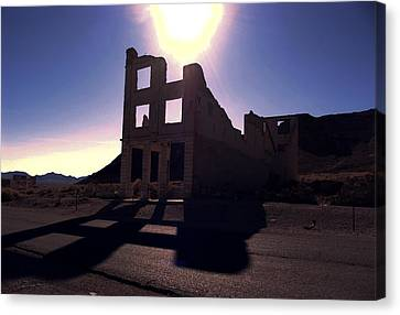 Ghost Town - Bank Closed Canvas Print by Maria Arango Diener