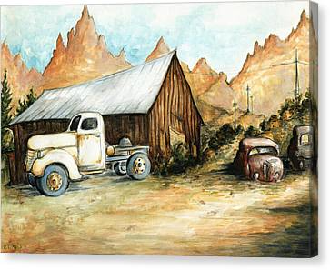 Ghost Town Nevada - Watercolor Art Canvas Print by Art America Gallery Peter Potter