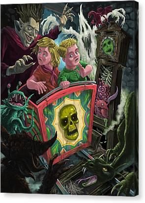 Ghost Train Fun Fair Kids Canvas Print by Martin Davey