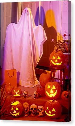 Ghost With Pumpkins Canvas Print by Garry Gay
