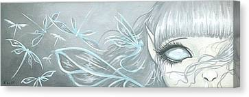 Ghostly Dragonfly Fairy Canvas Print by Elaina  Wagner