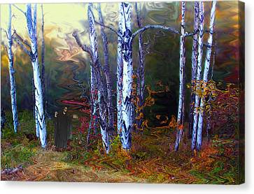 Canvas Print featuring the photograph Ghoul In A Halloween Forest by Wayne King