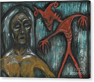 Ghouls At The Cemetery Canvas Print by Marisol McKee