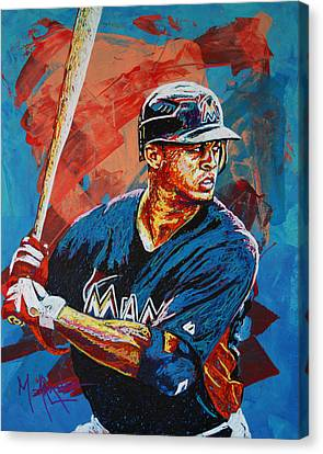 Giancarlo Stanton Canvas Print by Maria Arango