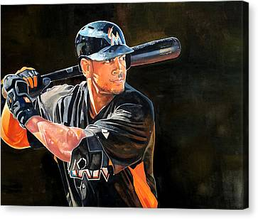 Giancarlo Stanton - Miami Marlins Canvas Print by Michael  Pattison