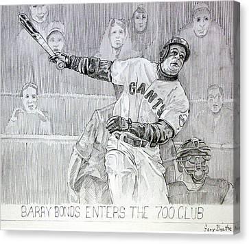 Barry Bonds Canvas Print - Giant Baseball Ployer Bary Bonds Enters The 700 Club by Gary Beattie
