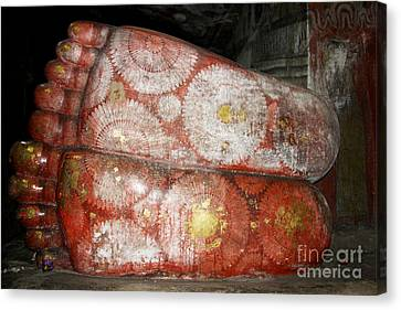 Giant Buddha Feet Canvas Print by Jane Rix