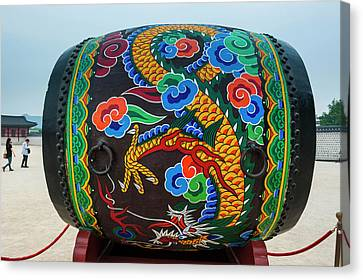 Michael Canvas Print - Giant Colorful Drum, Gyeongbokgung by Michael Runkel