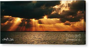 Giant God Clouds - Sunset At Sea. Canvas Print by Geoff Childs
