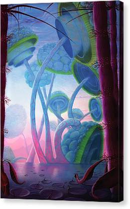 Giant Mushroom Lifeforms On Alien World Canvas Print by Mark Garlick