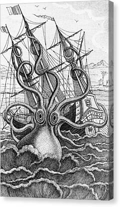 Tentacles Canvas Print - Giant Octopus Illustration From L Histoire Naturelle Generale Et Particuliere Des Mollusques by French School