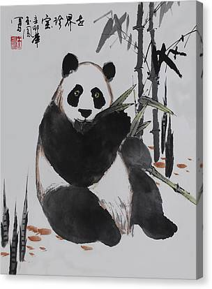 Canvas Print featuring the photograph Giant Panda by Yufeng Wang