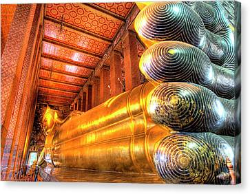 Giant Reclining Buddha Inside Temple Canvas Print by Jaynes Gallery
