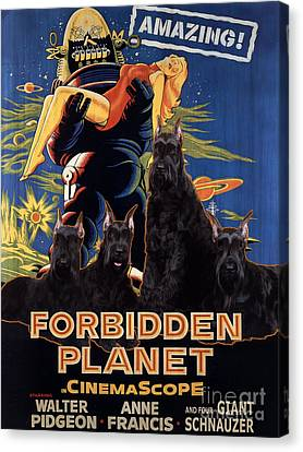 Giant Schnauzer Art Canvas Print - Forbidden Planet Movie Poster Canvas Print by Sandra Sij