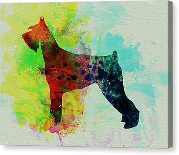 Giant Schnauzer Watercolor Canvas Print by Naxart Studio