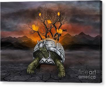 Giant Turtle Warrior In The Old Metal Armor... Canvas Print