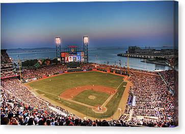 Baseball Canvas Print - Giants Ballpark At Night by Shawn Everhart