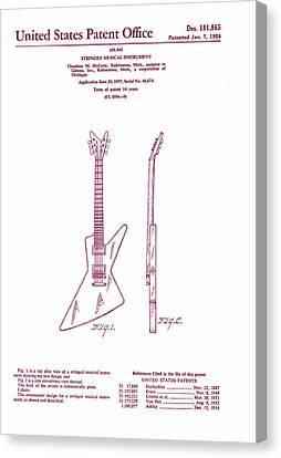 Gibson Explorer Guitar Patent Canvas Print by Georgia Fowler