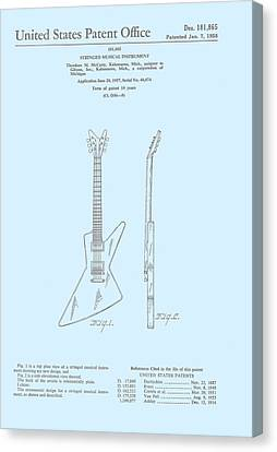 Gibson Explorer  Patent 1958 Canvas Print by Georgia Fowler