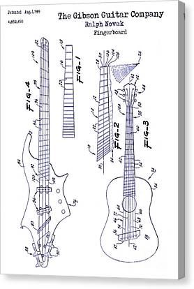 Gibson Guitar Patent Blueprint Canvas Print by Jon Neidert