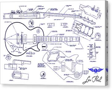 Gibson Les Paul Blueprint Drawing Canvas Print by Jon Neidert