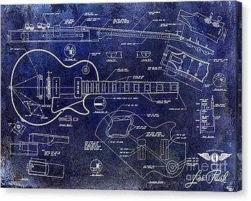 Gibson Guitar Canvas Print - Gibson Les Paul Blueprint by Jon Neidert