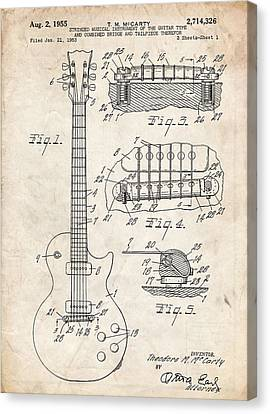 Gibson Les Paul Guitar Patent Art Canvas Print by Stephen Chambers