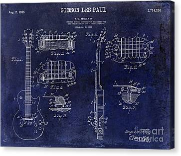 Gibson Guitar Canvas Print - Gibson Les Paul Patent Drawing Blue by Jon Neidert