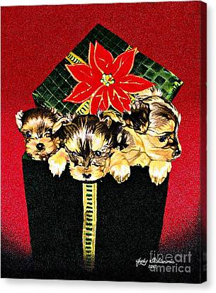 Gift Puppies Canvas Print by Judy Skaltsounis