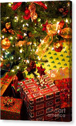 Wrapping Canvas Print - Gifts Under Christmas Tree by Elena Elisseeva