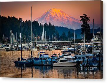 Pacific Coast States Canvas Print - Gig Harbor Dusk by Inge Johnsson