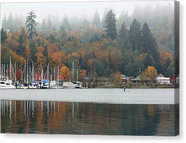 Gig Harbor In The Fog Canvas Print