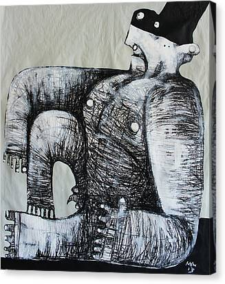 Black And White Human Figure Drawing Canvas Print - Gigantes No. 5 by Mark M  Mellon