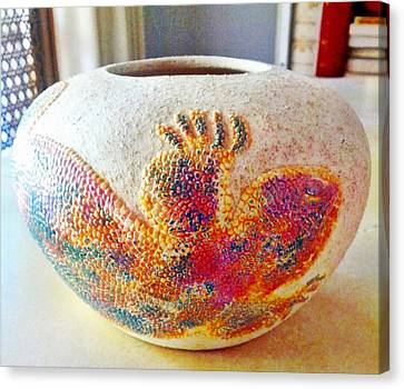 Gila Monster Ceramic Pot Canvas Print