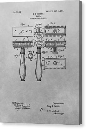 Hair Cuts Canvas Print - Gillette Razor Patent Drawing by Dan Sproul