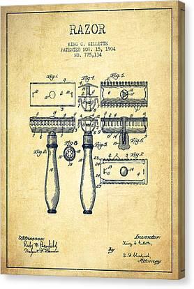Gillette Razor Patent From 1904 - Vintage Canvas Print