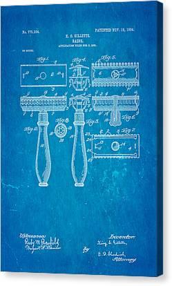 Gillette Safety Razor Patent Art 1904 Blueprint Canvas Print by Ian Monk
