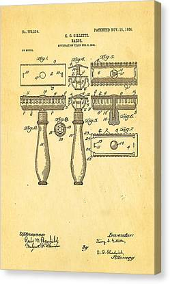 Gillette Safety Razor Patent Art 1904 Canvas Print by Ian Monk