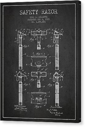 Gillette Safety Razor Patent From 1915 - Dark Canvas Print