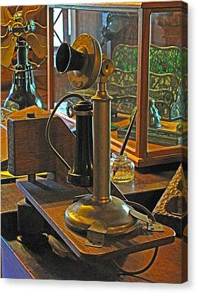 Gillette's Phone And Fan Canvas Print by Barbara McDevitt