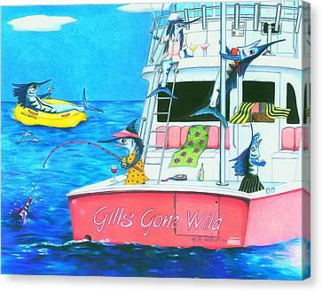 Gills Gone Wild Canvas Print by Karen Rhodes