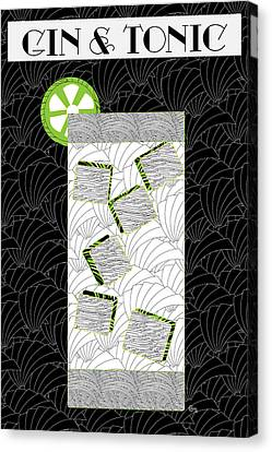 Gin And Tonic Cocktail Art Deco Swing   Canvas Print by Cecely Bloom