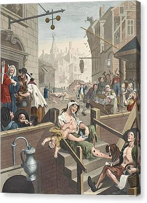 Gin Lane, Illustration From Hogarth Canvas Print by William Hogarth