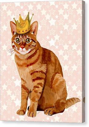 Ginger Cat With Crown Full Canvas Print by Kelly McLaughlan