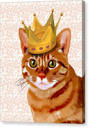 Ginger Cat With Crown Portrait Canvas Print by Kelly McLaughlan