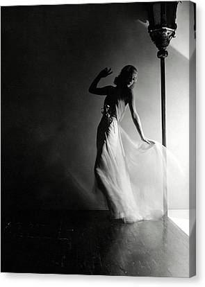 Gown Canvas Print - Ginger Rogers Wearing An Evening Gown by Horst P. Horst