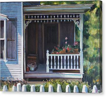 Gingerbread Porch Warren Vermont Canvas Print by Pat Percy