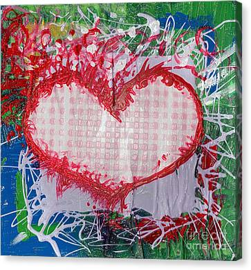Gingham Crazy Heart Shrink Wrapped Canvas Print by Genevieve Esson