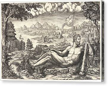 Giorgio Ghisi Italian, 1520 - 1582. Hercules Reposing Canvas Print by Litz Collection