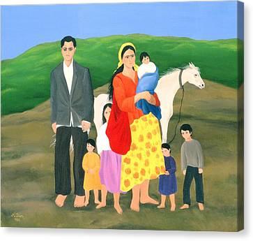 Romany Canvas Print - Gipsy Family, 1986 Oil On Canvas by Magdolna Ban